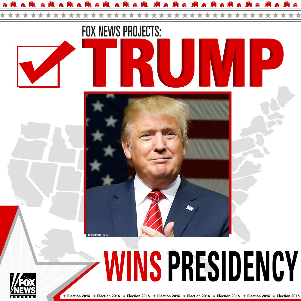 Fox News projects @realDonaldTrump wins the presidency. #ElectionNight #FoxNews2016