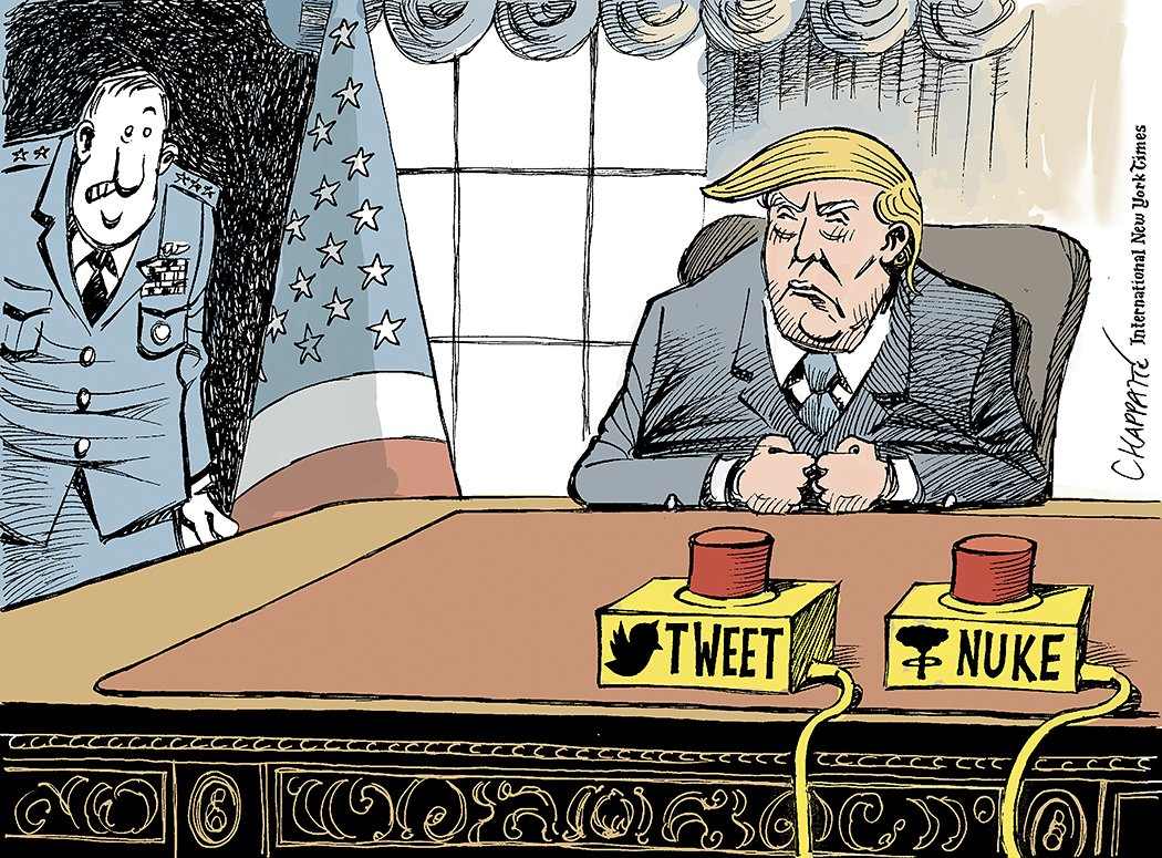 President Trump has two red buttons on his desk, labeled TWEET and NUKE. Cartoon by Patrick Chappatte
