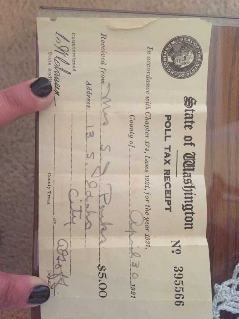 My great-great grandmothers poll tax receipt, a fee paid to vote. $5 in 1921 would be $67.52 today https://t.co/i9qwPvdxjG