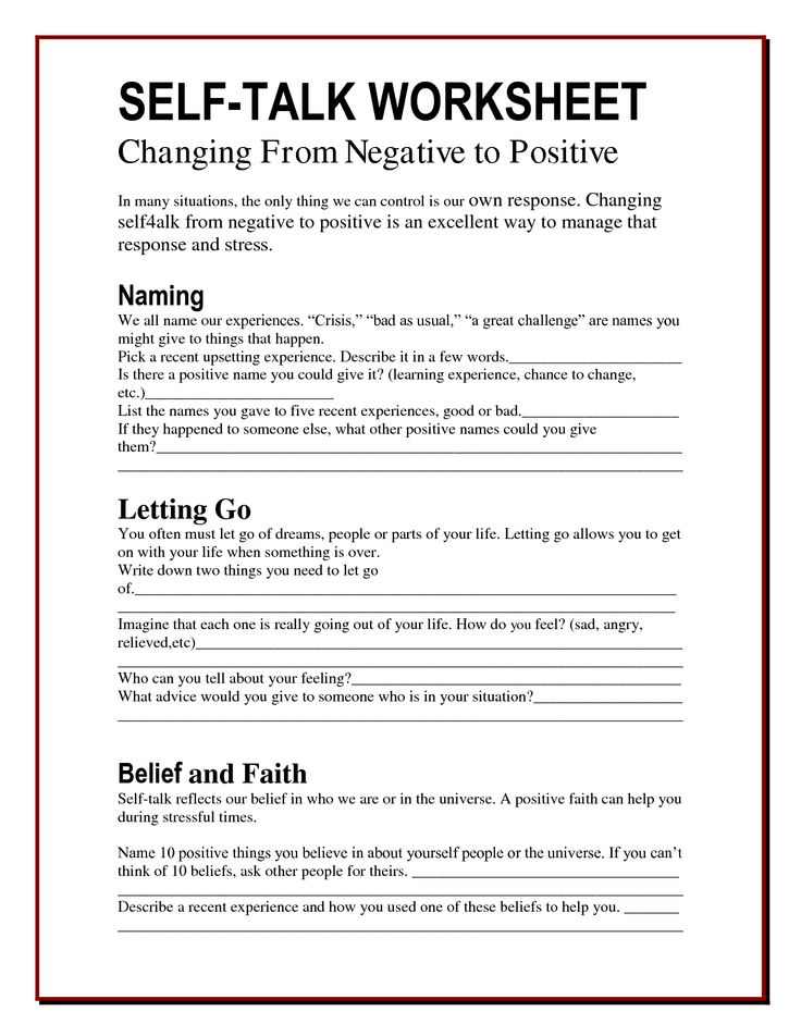 Ontspecialneeds On Twitter The Self Talk Worksheet Changing From