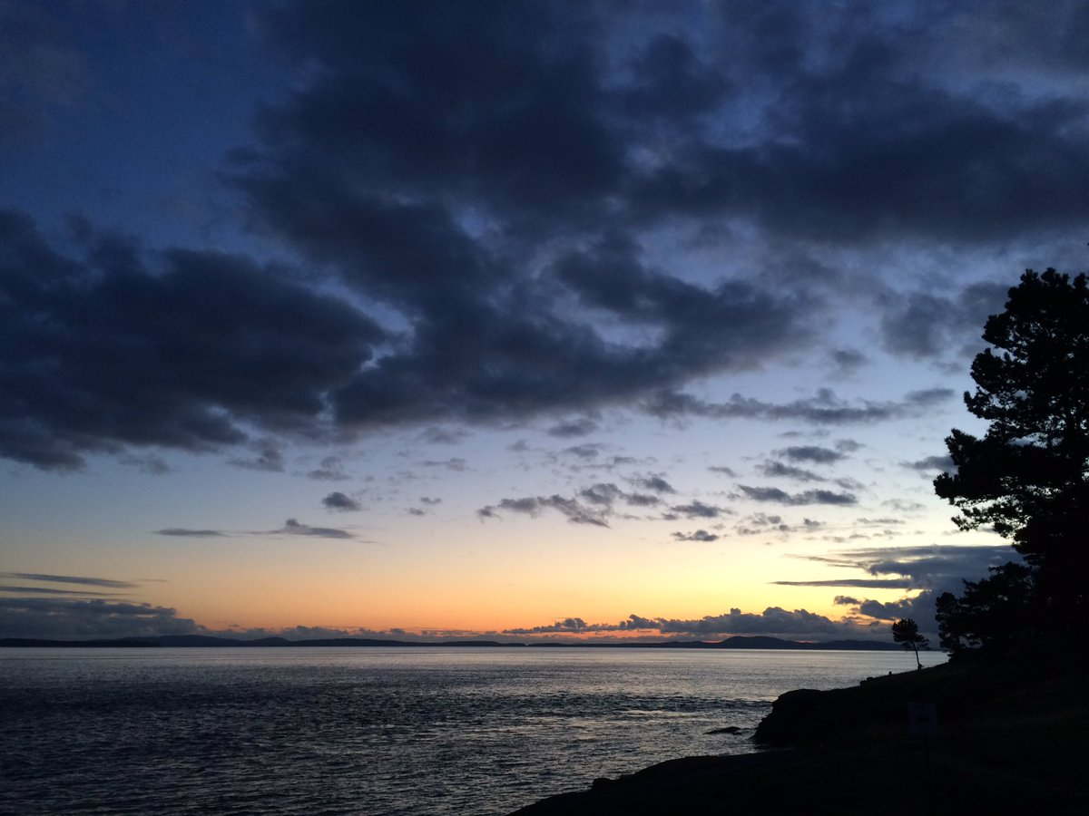 A sunset snap from East Point taken last week during clam garden field work! @GulfIslandsNPR @Clamgardeners #waitingforlowtide https://t.co/sm0AkCclLC
