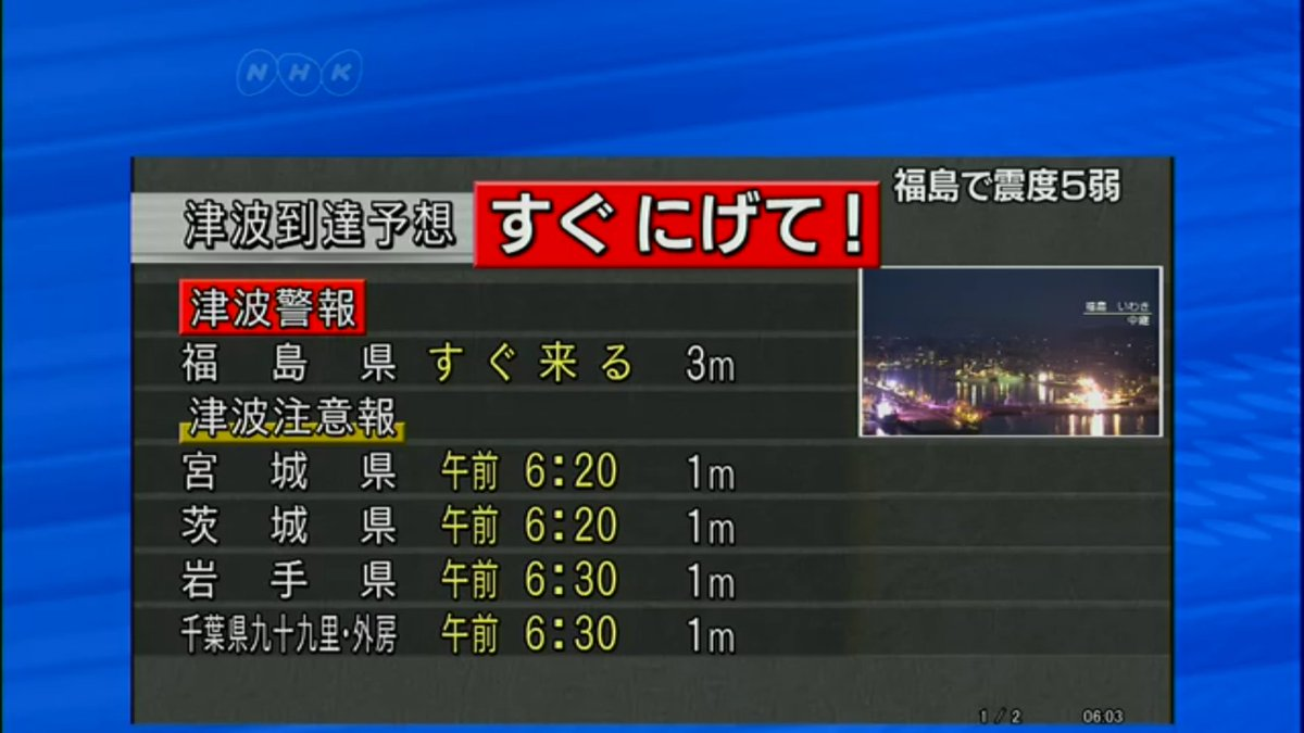 Tsunami warning. 3m after 5:56am quake off east Japan. https://t.co/D5O8I5xSOV