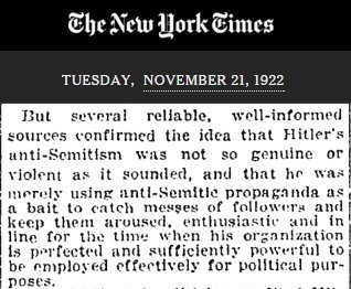 On Nov. 21, 1922, 94 years ago today, the @nytimes made its first-ever reference to Hitler.  This was the first paragraph. History repeats.