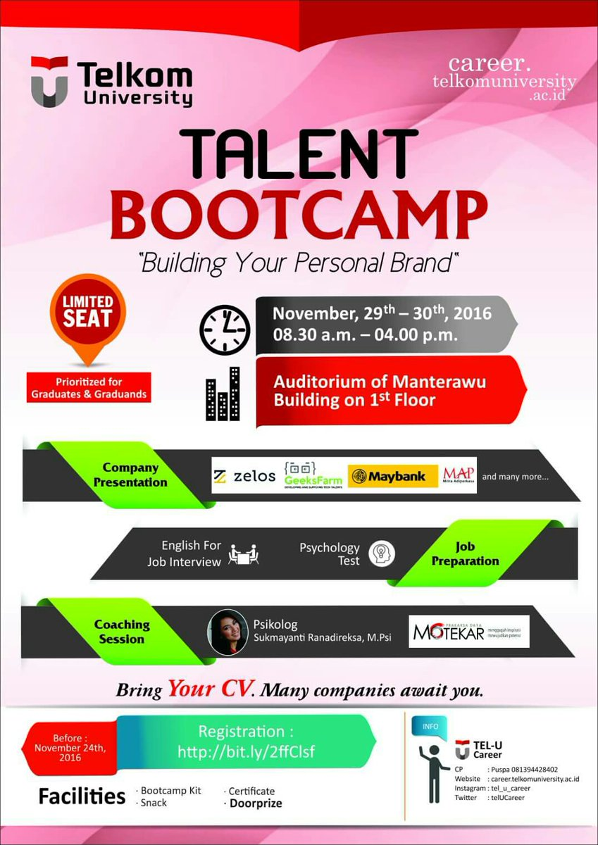 informasi tel u on infokampus join us at talent informasi tel u on infokampus join us at talent bootcamp building your personal brand 29 30 2016 auditorium of manterawu building