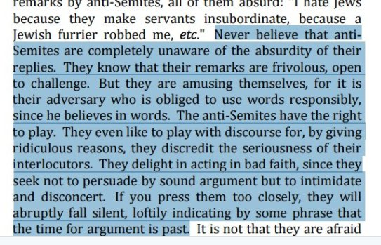 an analysis of the sartres anti semite and jew The analysis of the colonizer and the colonized led inexorably to revolt in his  introduction to the first edition, sartre applauded memmi for laying bare the logic   the exaggerated traits attributed to jews by anti-semites are certainly false,  but.