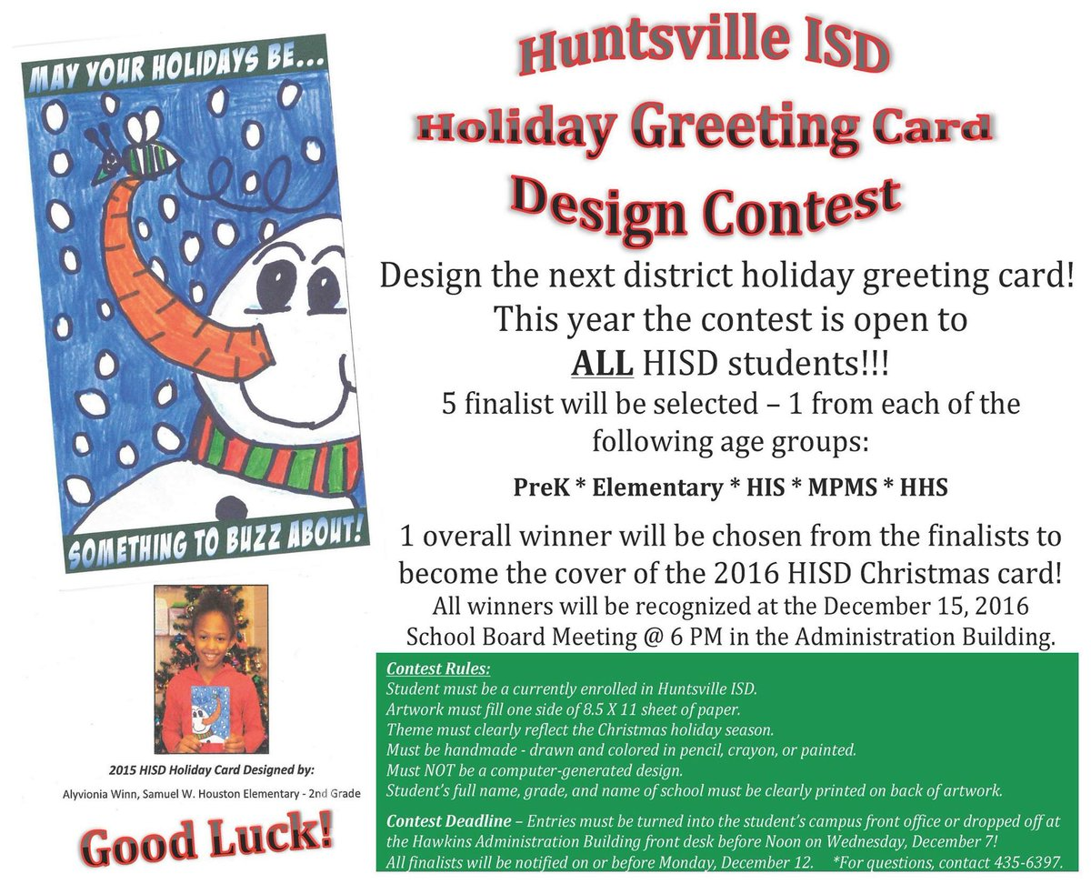 Huntsville Isd On Twitter We Invite All Hisd Students To Design A