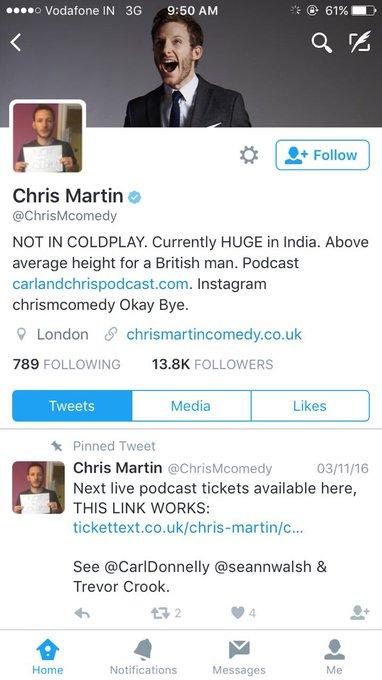 Bhagwan ke naam pe mujhe chorhdo main Coldplay mien nahi hoon😂500 Indians started following wrong Chris Martin post Coldplay Mumbai Concert https://t.co/isGrwAijYv