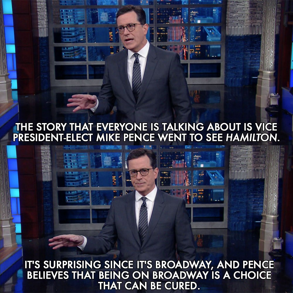 Stephen Colbert makes hip hop rhymes about Pence, 'Hamilton'