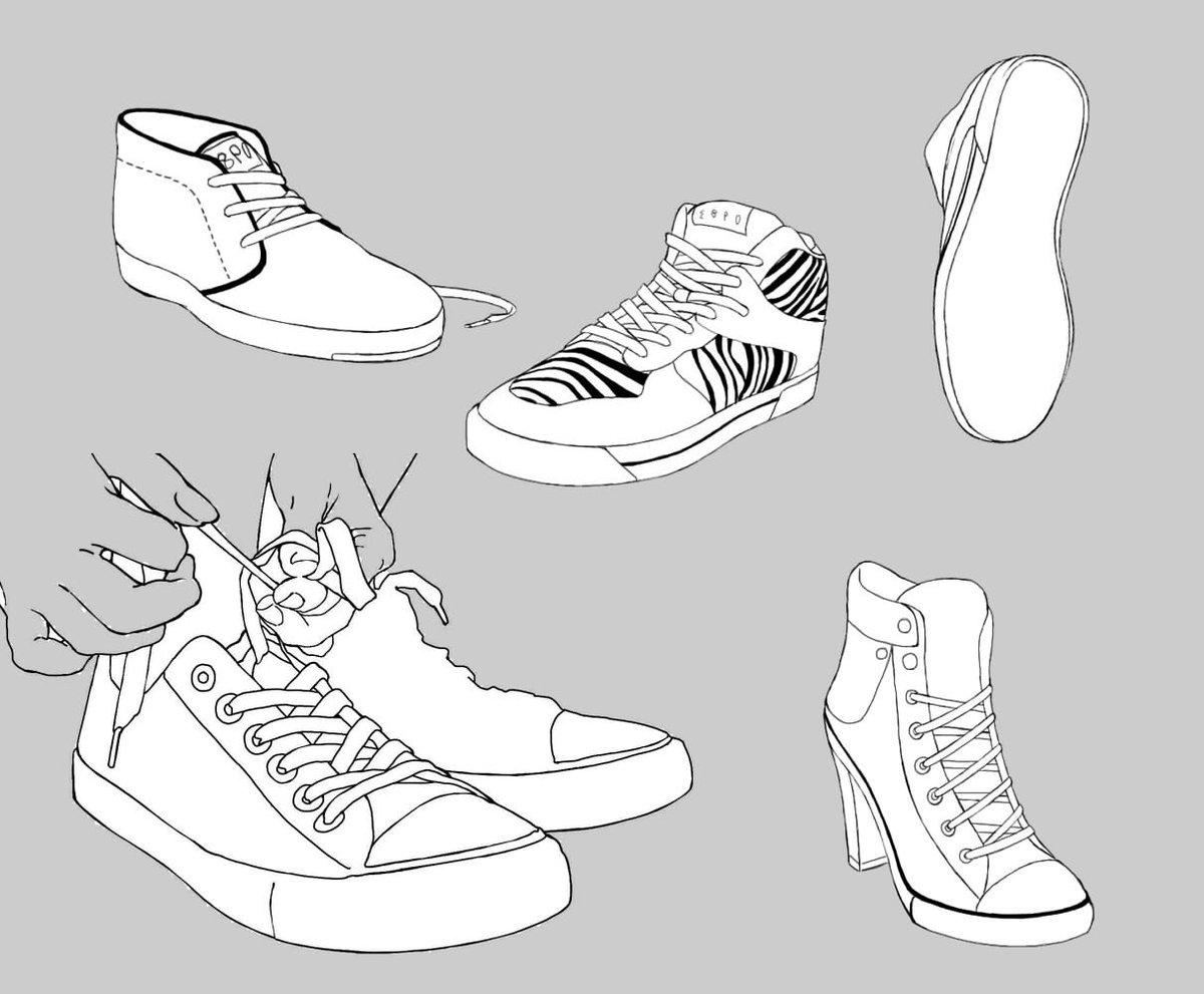 靴の描き方。基本。(スニーカー、ローファー)とっても簡単に描いております。 あくまで私なりの描き方です描き込みなどはありません。参考になれば幸い。※3枚目はローファー4枚目はスニーカーの過去描いたものまとめ