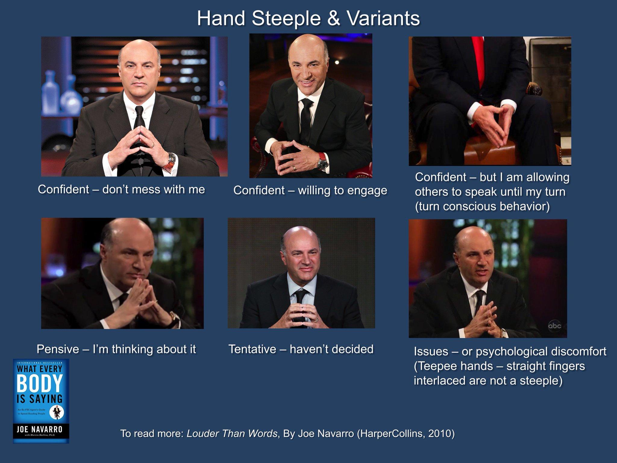 "Joe Navarro on Twitter: ""Steepled Hands - Teepee Hands - what they reveal:…  """