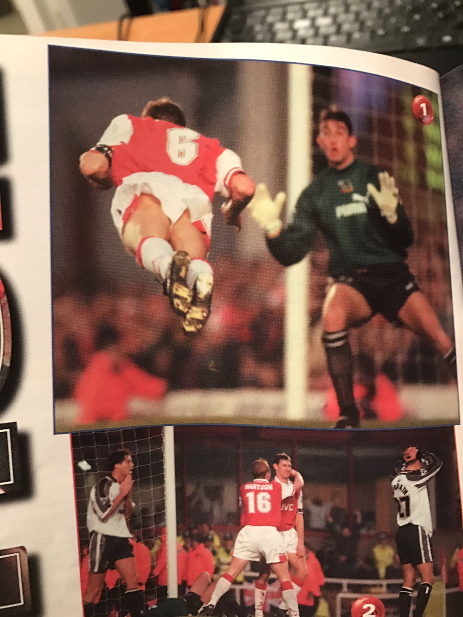 Just found this photo of Tony Adams doing the most Tony Adams header ever https://t.co/ZFKrjk7WFc