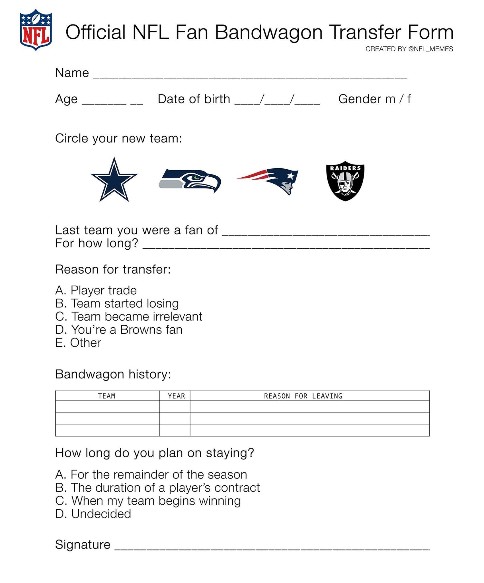 Official Bandwagon transfer form