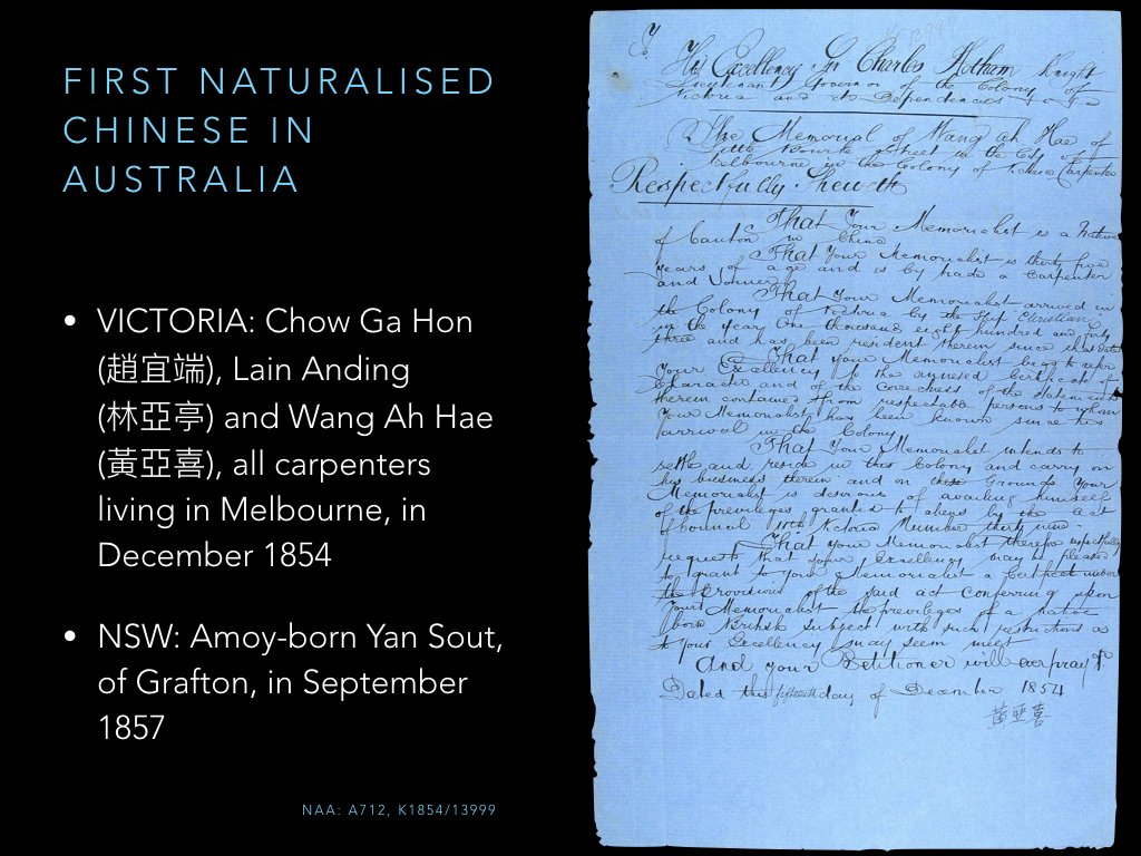 First Chinese natz I've found in Australia was in Melbourne in 1854. First in NSW was Amoy-born Yan Sout from Grafton in 1867. https://t.co/Z3oyZy9wLw