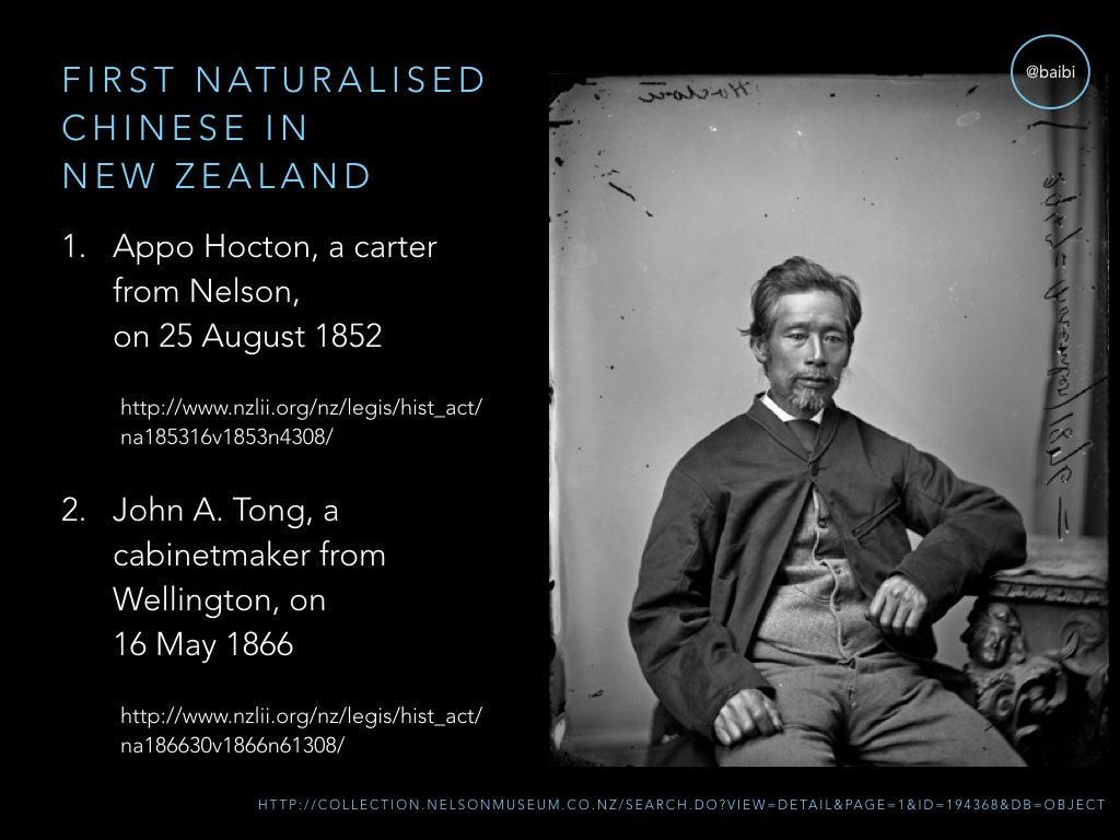 First Chinese natz in NZ was Appo Hocton of Nelson in 1852 – 2 years earlier than in Australia! But next natz not until 1866. https://t.co/V5diczW0O8