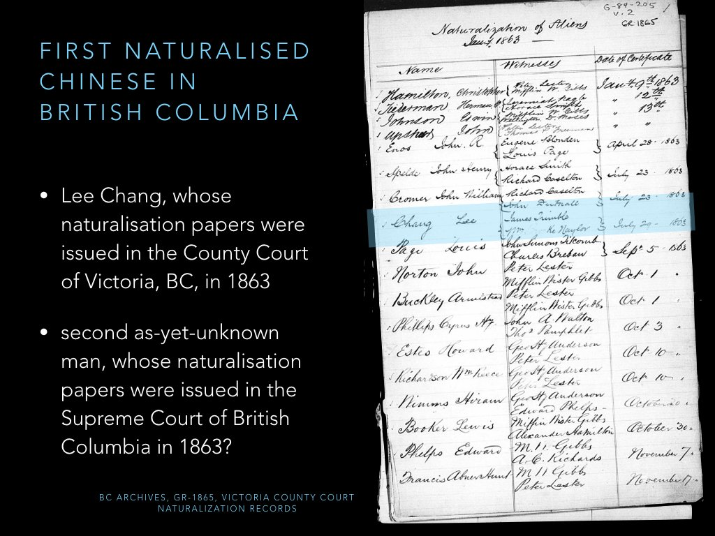 Working out first Chinese natz in Canada has been tricky! Research so far suggests Lee Chang of Victoria, BC, in 1863 + another unknown man. https://t.co/6MgrXlEstu