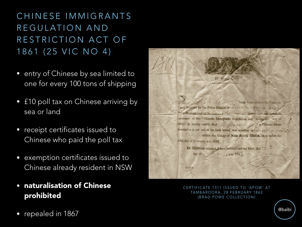 Chinese Regulation & Restriction Act 1861 (NSW) brought in poll tax, tonnage limits and stopped Chinese natz. Repealed in 1867. https://t.co/iH2aGSRgfu