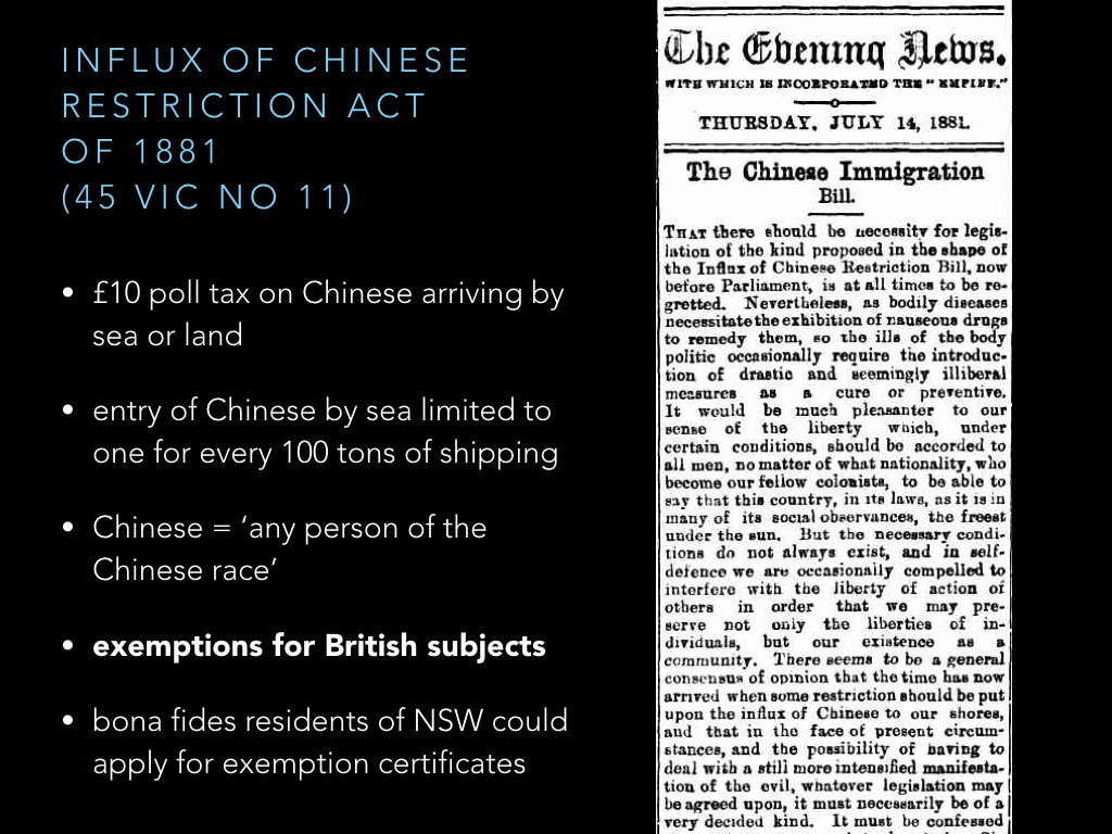 Influx of Chinese Restriction Act 1881 (NSW) brought back poll tax and tonnage restrictions. Exemptions for those who were British subjects. https://t.co/FQFM0jQ3G7