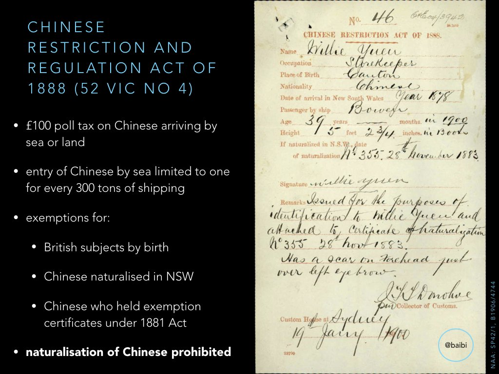 Chinese Restriction & Regulation Act 1888 (NSW) increased poll tax and tonnage restrictions, stopped Chinese natz. British subjects exempt. https://t.co/Je54rrYciM