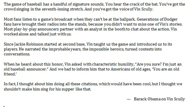 Here are the words of @BarackObama on Vin Scully. https://t.co/5wjErwVmVH https://t.co/KKwtY1eALz