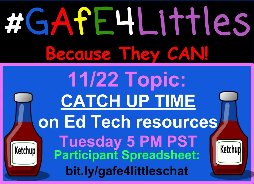 #gafe4littles chat today! 5 PM PST. You can find the participant spreadsheet at https://t.co/Yh2qbFkC6C https://t.co/0mDt3HLHug