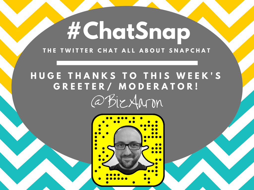 Say hello to today's #ChatSnap moderator, a regular in the chat and one of my favorite people - @bizaaron!!! Thank you, Aaron! https://t.co/tU4lCJHN9E