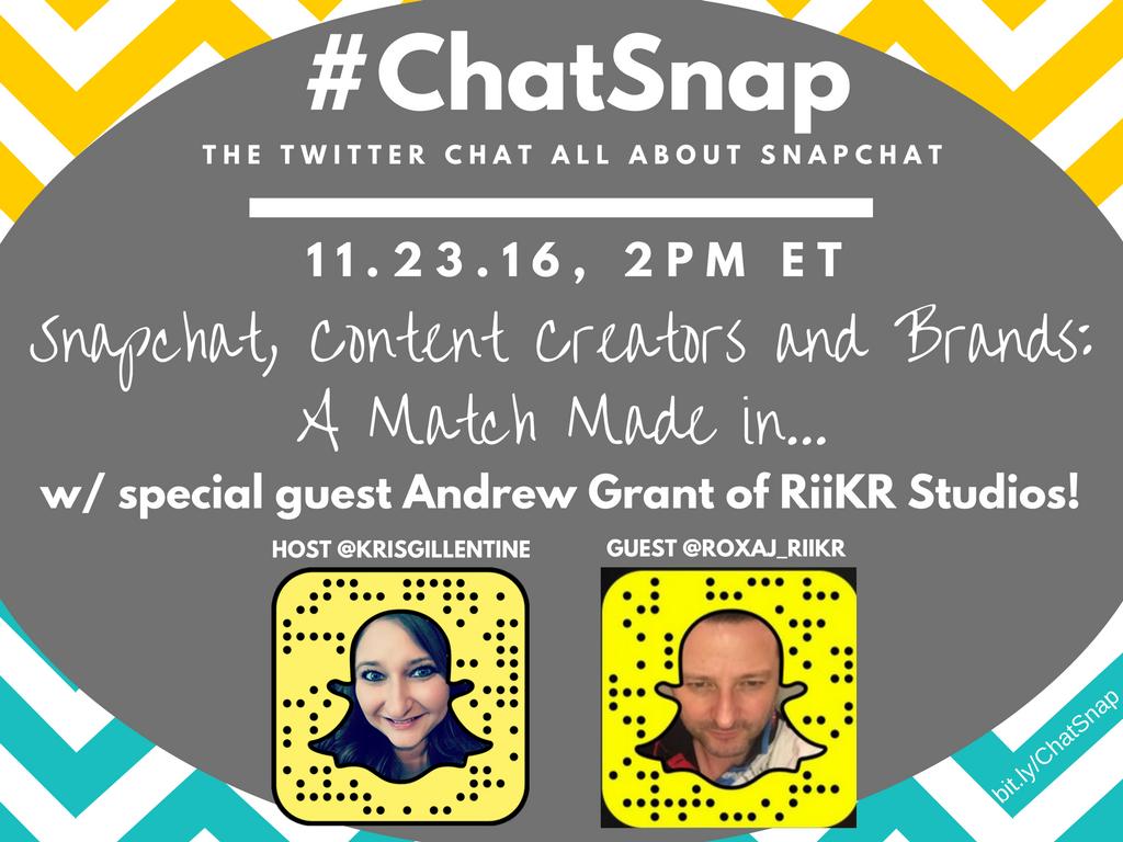 @WeREnterprising @SimonTurkas @MarieMBurton @CdosSantosCosta @KatieSMiller Reminder: #ChatSnap starts in 30min! Hope you can join us! https://t.co/5dLMTbDuin