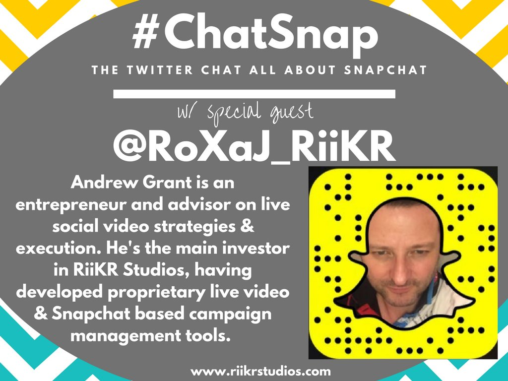 I'm excited to welcome @RoXaJ_RiiKR of RiiKR Studios as today's special guest! Thank you for being here today, Andrew!! #ChatSnap https://t.co/GvH0AeldSQ