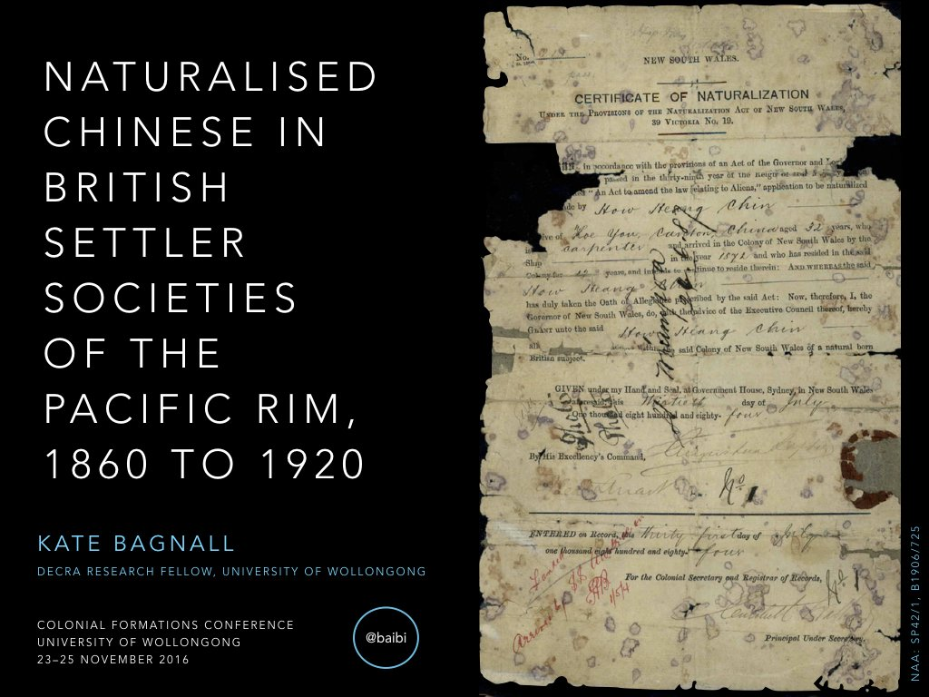 Stay tuned for tweets of my talk on Chinese naturalisation in 19th-century British settler colonies at #colonialformations. #chinozhist https://t.co/VLWVC2XTdN