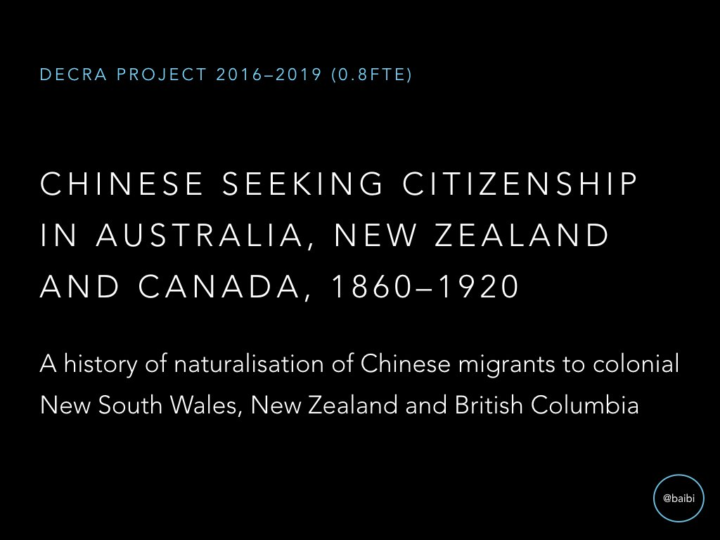 Project was inspired by realisation that many 'notable' 19th c. Chinese in Oz were naturalised, but history of Chinese natz not written. https://t.co/ymUTO7Nbb0
