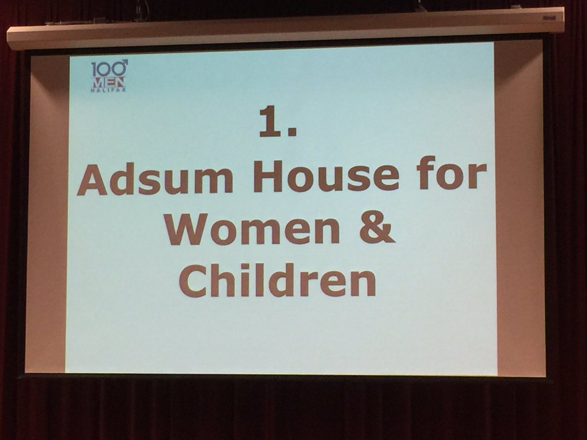 And the recipient tonight is Adsum House for Women & Children $14500 and that will grow when the absent members contribute. #100MenHfx https://t.co/GHMLPWXSAh