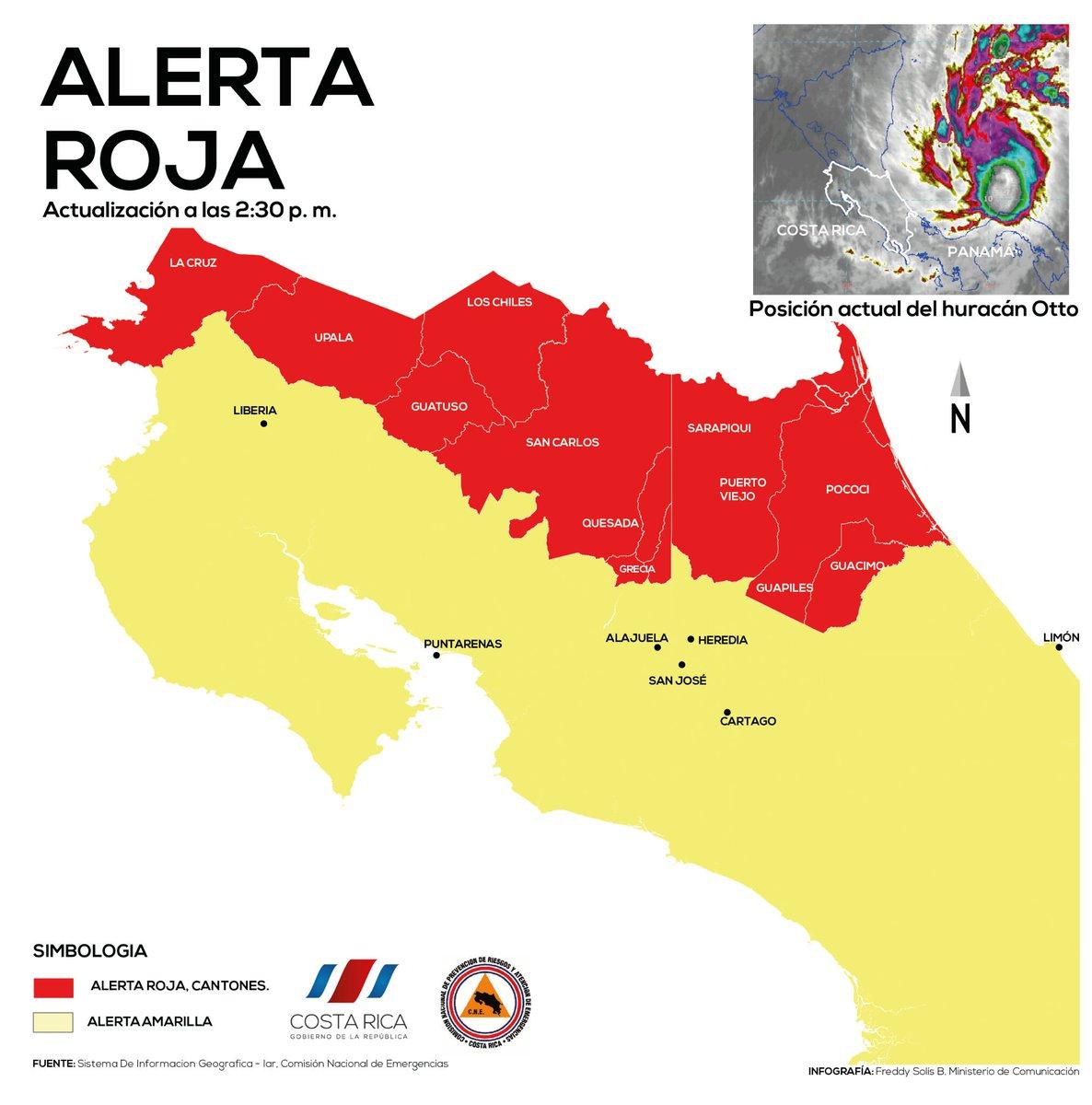 ALERTA ROJA EN COSTA RICA POR HURACAN OTTO