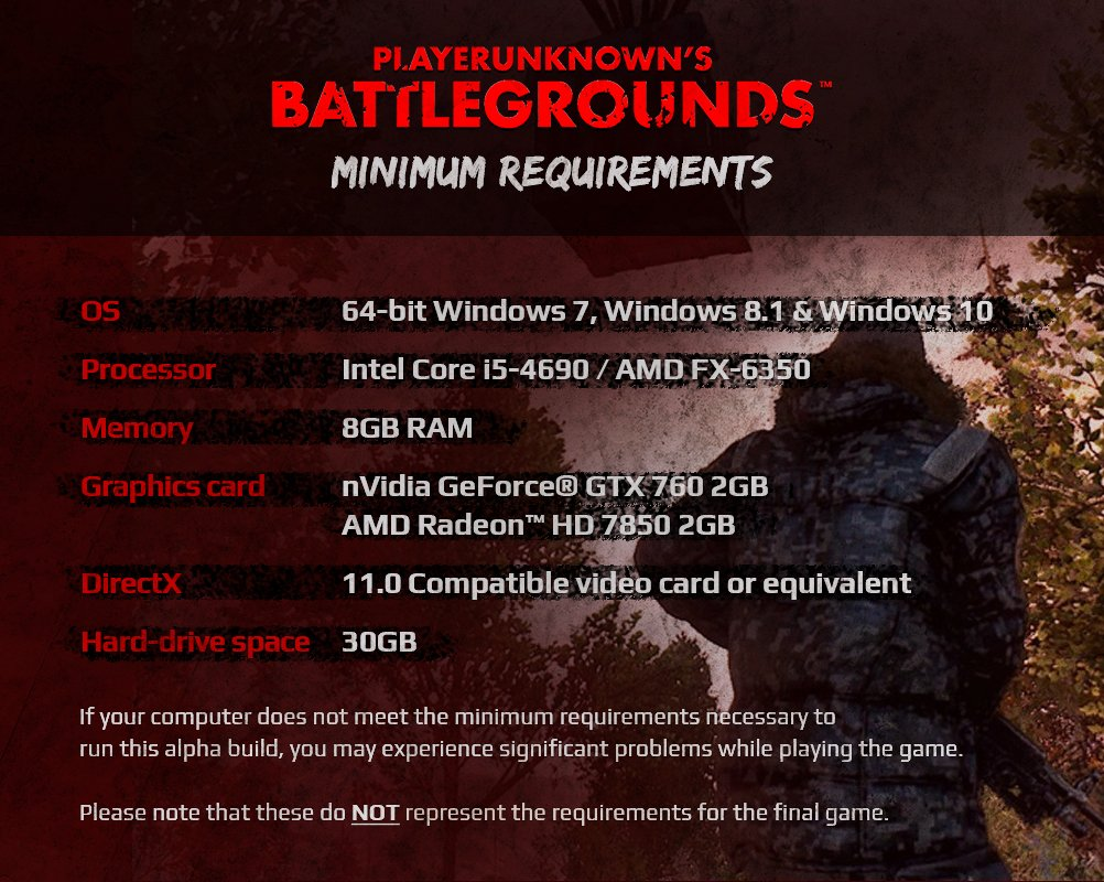 pubg requirements for windows