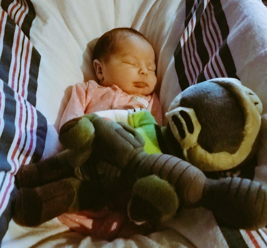 Look what Amara fell asleep with! @DOOM @idSoftware @bethesda @bethblog https://t.co/0EPiPByPrU