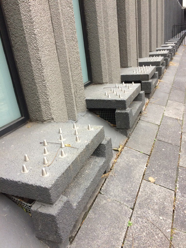 Chancery Lane anti homeless spikes. Horrid. https://t.co/YfH28QE5Cf