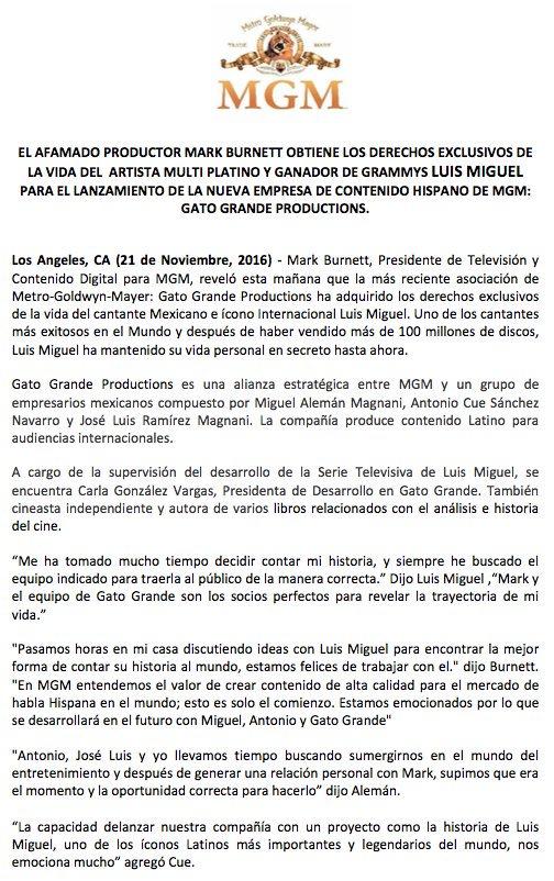 Luis Miguel On Twitter Comunicado De Prensa 21 De Noviembre De 2016 Los Angeles Ca