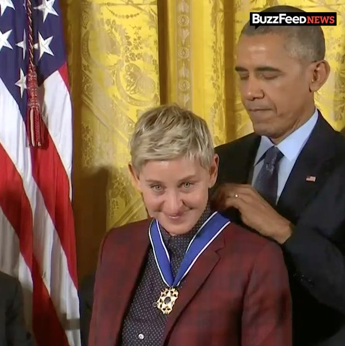 Barack Obama moved Ellen to tears as he presented her with the Presidential Medal of Freedom