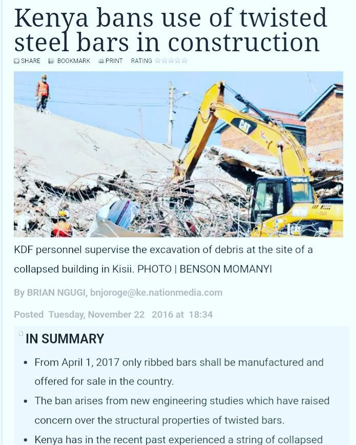 Kenya bans the use of twisted steel bars in construction. From April 1, 2017 only ribbed b… https://t.co/dR3haui95p https://t.co/pmMCJk6mIh