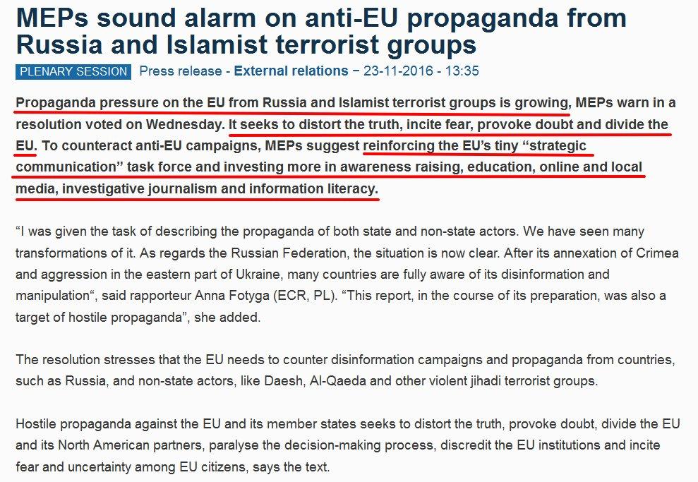 """Rendiamoci conto: avversione verso UE """"colpa della disinformazione di RUSSIA e ISIS"""" \\ Questi sono malati di mente! https://t.co/WNpI3UusTr https://t.co/L0rOj0jgCt"""