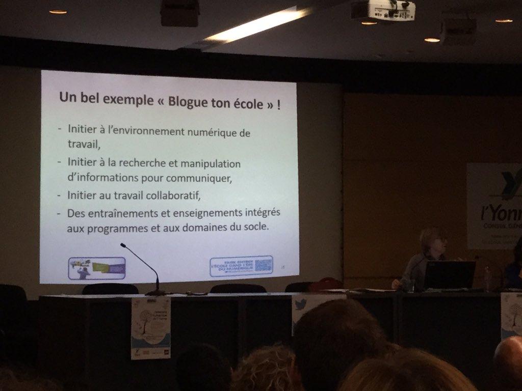 """Elisabeth Laporte IGEN cite l'exemple """"Blogue Ton École"""" parmi les actions pertinentes à mener avec le #Numérique ! Bravo @dane_dijon #UNY89 https://t.co/oWhvJgqNZj"""