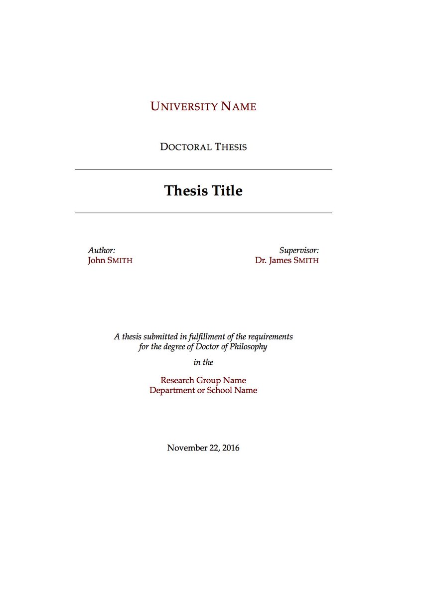 phd thesis cover page latex Latex template a template for project and master's theses in latex is available as a zip-file the zip-file contains all the files you need to write your theses you should unzip the files and put all the files into a folder called, for example, project or master on your computer.