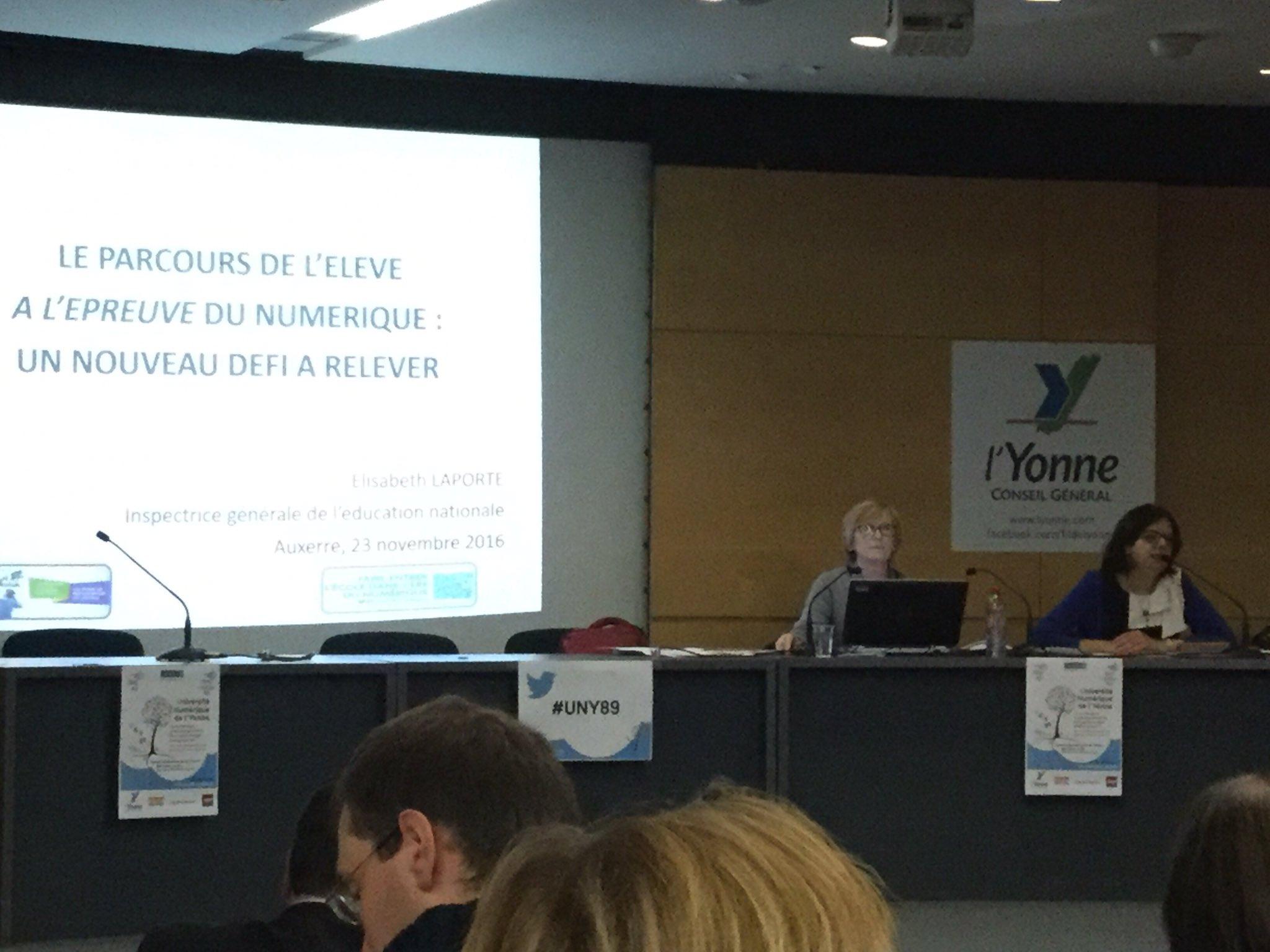 Conference d'Elisabeth Laporte IGEN à l'#UNY89 #ecolenumerique : le parcours de l'élève à l'épreuve du #Numérique, un nouveau défi à relever https://t.co/R6QyXPR2Bo