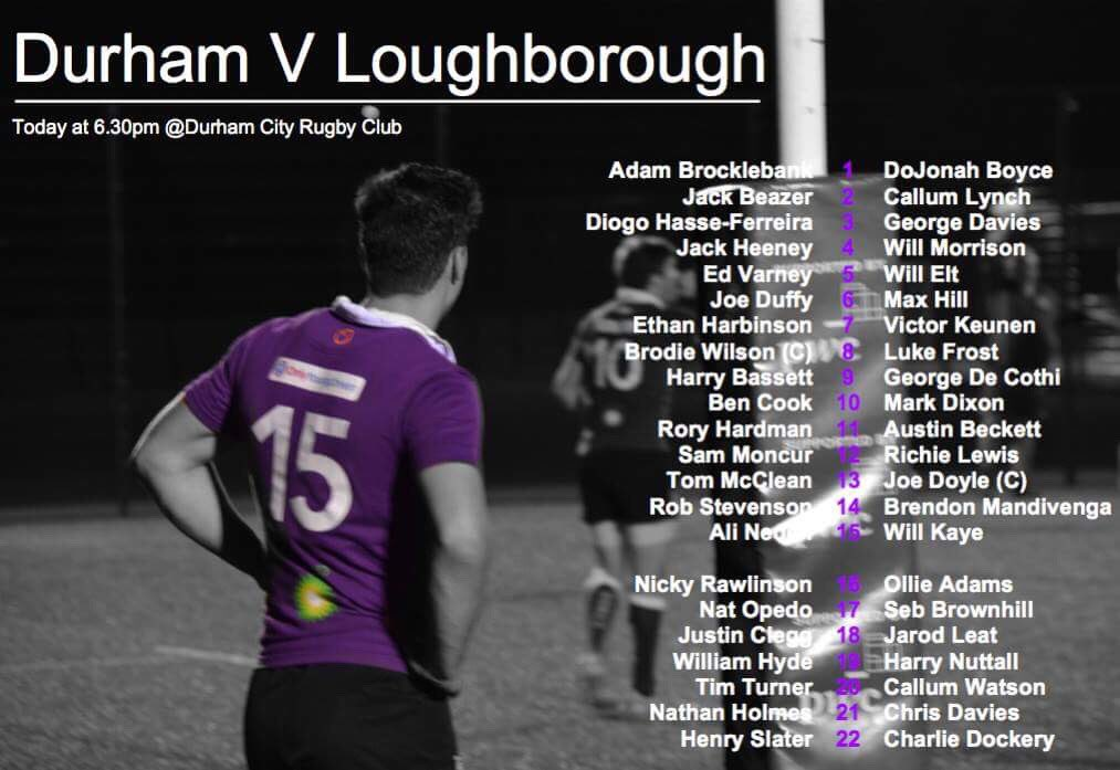 Durham University Rfc On Twitter Here Is The Team Sheet To Face