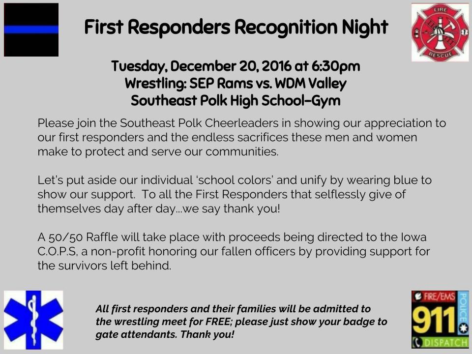 Circle 12/20 on your calendars. Pre-season #1 @sepwrestling vs #2 @WDMVwrestling .  Support our 1st responders & see some great wrestling! https://t.co/UcziQ9jaXy