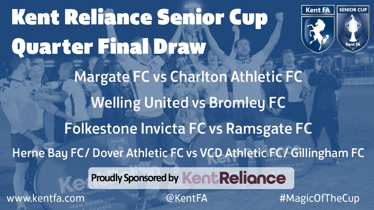 BREAKING: The @KentReliance Senior Cup Quarter Final draw is now out! #MagicOfTheCup https://t.co/TZ2qfGdfZs