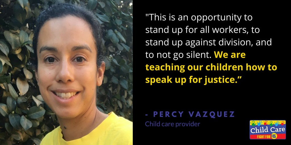 Child care workers like Percy are committed to the cause. They want to set an example for the next generation. #FightFor15 #Childcareforall https://t.co/LMQFyKdrSm