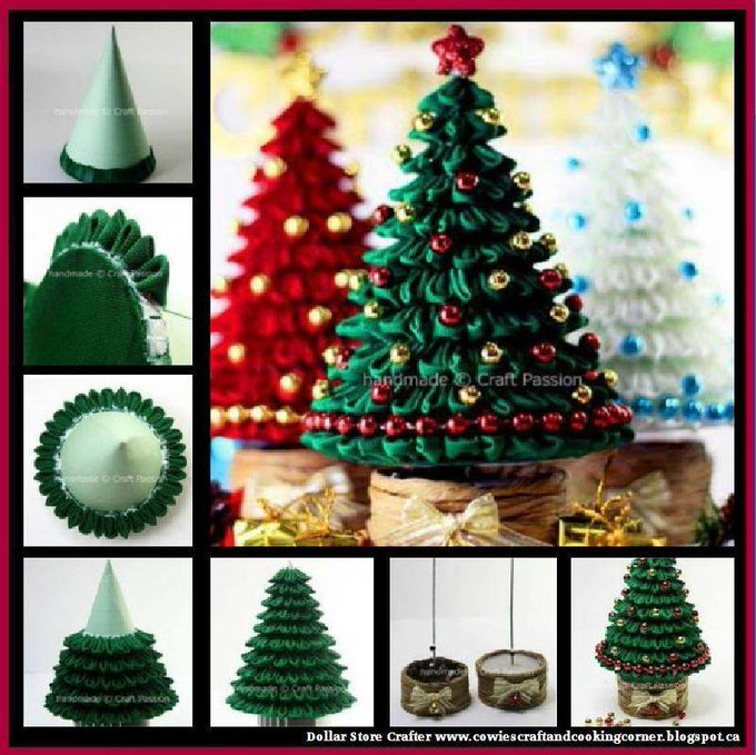 Kanzashi Christmas Tree LINK>>christmas crafts christmascrafts sewing christmatree