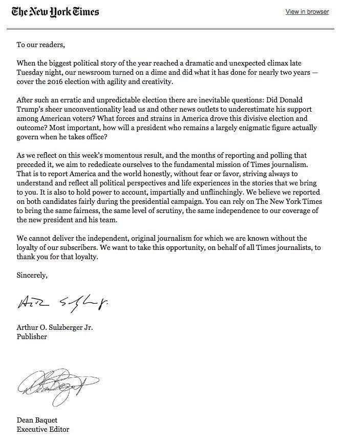 Brief van de uitgever aan de lezers van The New York Times.