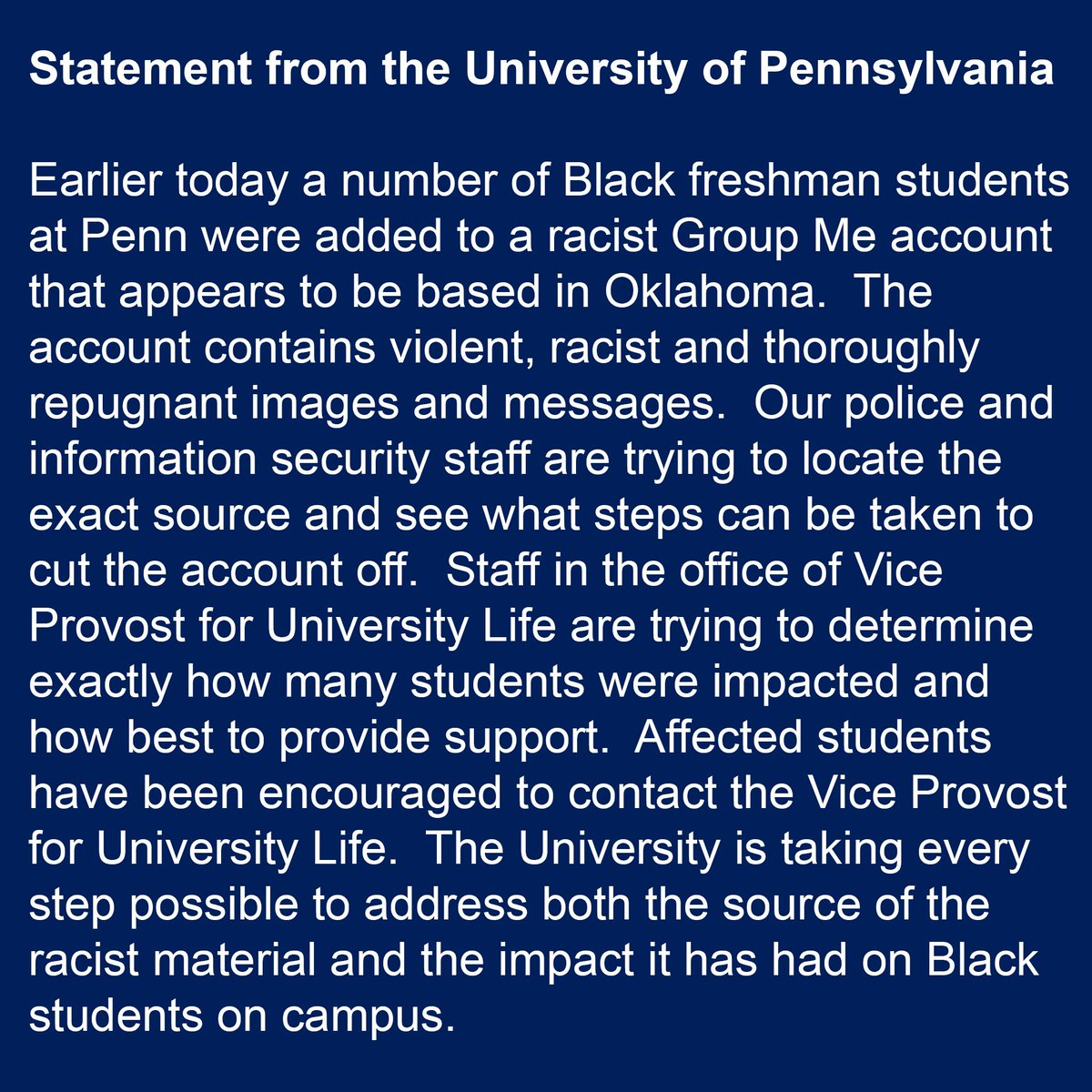 A statement from Penn on the current events on campus. https://t.co/CALK7OERup