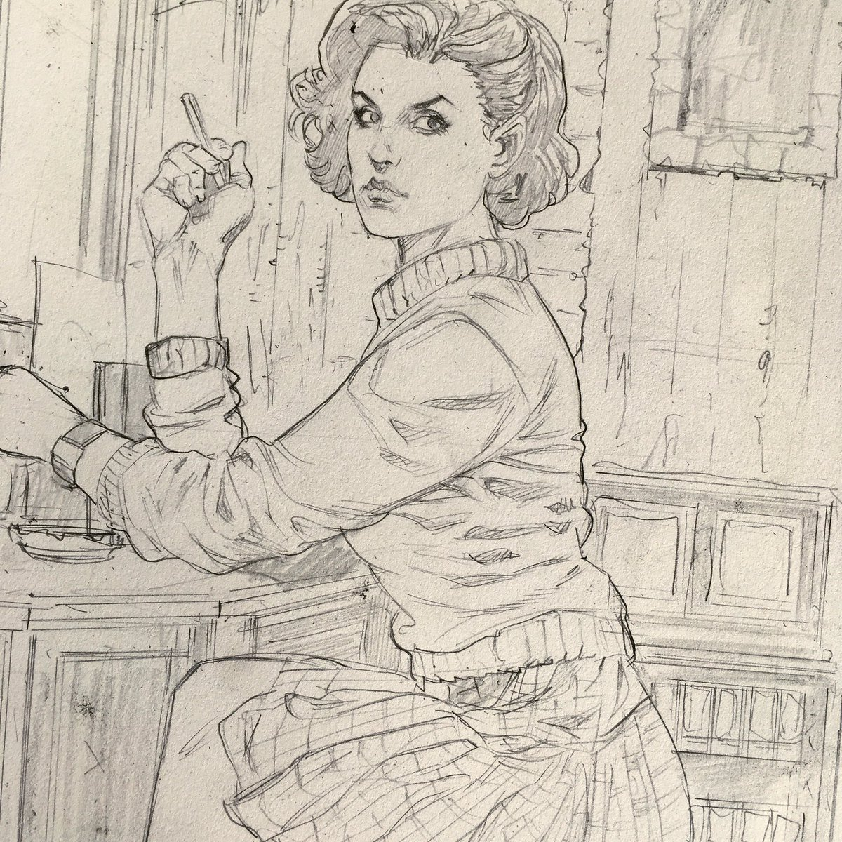 Next commission is Audrey Horne, Twin Peaks. Pencil sketch. https://t.co/oYTcdze2iJ