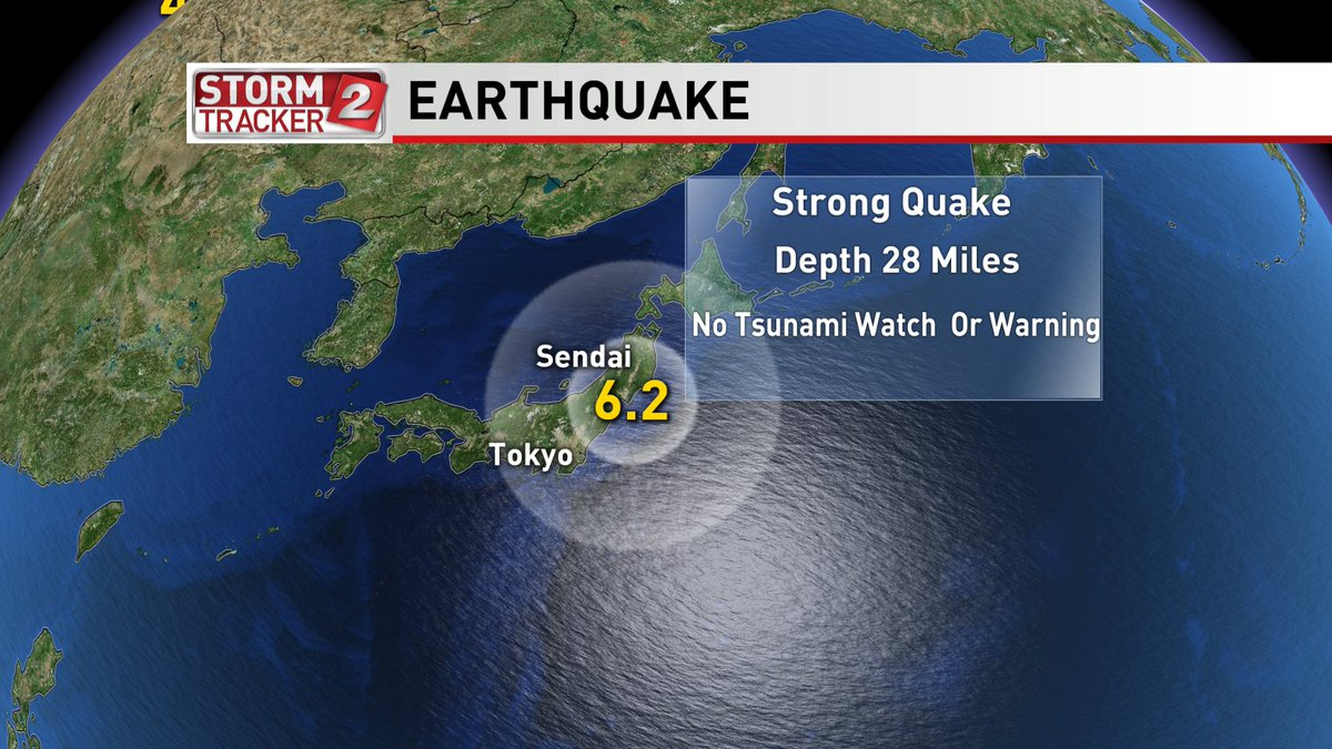 Very Strong quake rocks east coast of Japan. Widely felt across the region. No Tsunami watch or warning posted. https://t.co/BBAs0ud8c1